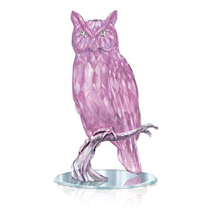 "Blake Jensen ""Wisdom Of The Amethyst"" Owl With Mirror Base"
