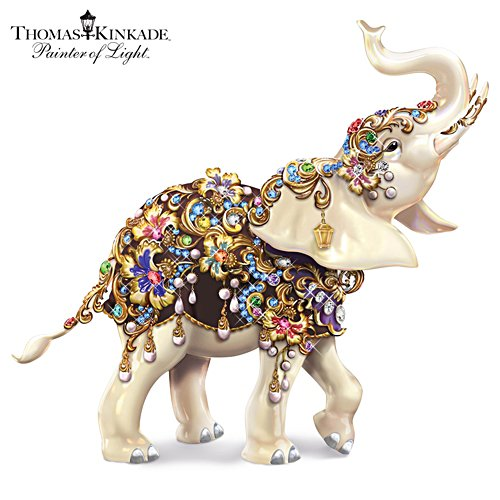 Thomas Kinkade Elephant Figurine with Dazzling Gems