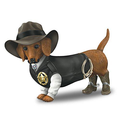 """Sher-ruff S. Paws"" Cowboy Dachshund Figurine"