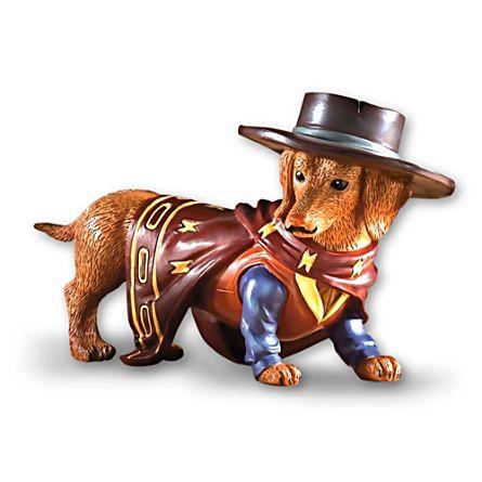 """""""A Paw-fect Hero"""" Cowboy Dachshund Figurine"""