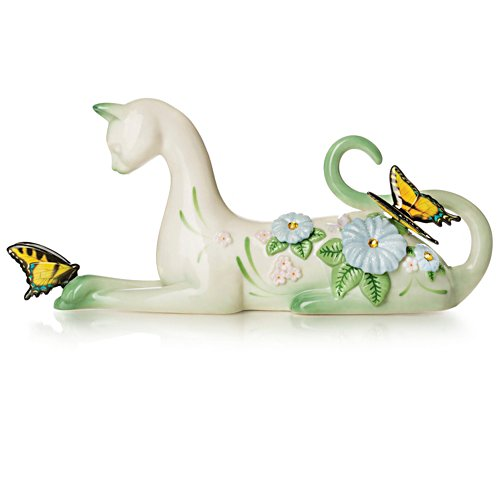 Serene Purr-fection Bisque Porcelain Figurine