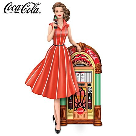 "COCA-COLA ""Rocking Good Taste"" Girl and Jukebox Figurine"