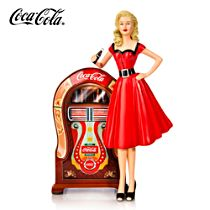 """COCA-COLA """"Can't Beat that Feeling"""" Girl and Jukebox Figurine"""
