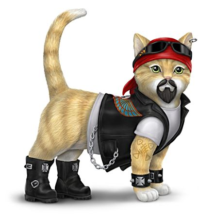 """Dawg Crusher"" Biker Cat Figurine In Full Biker Gear"