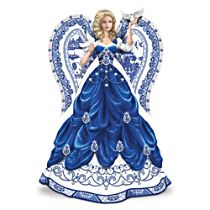 Blue Willow China Inspired Angel Figurine