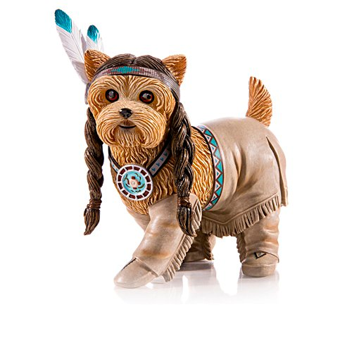 Running Woof Native American Yorkie Figurine