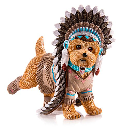 Kicking Cat Native American Yorkie Figurine