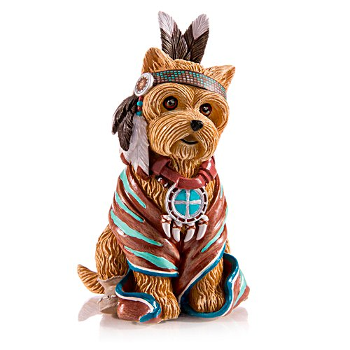 Sitting Fur Native American Yorkie Figurine