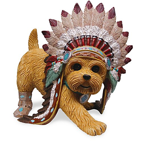 Leaping Claws Native American Yorkie Figurine