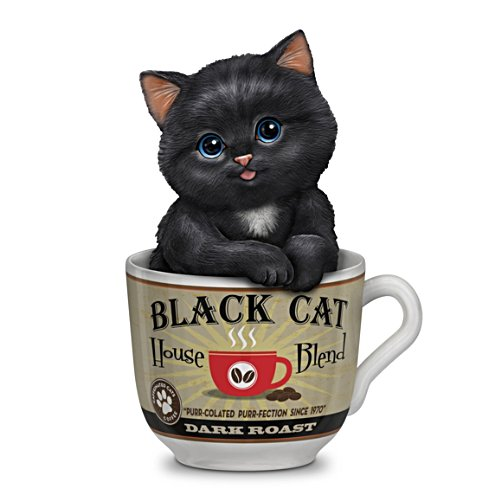 "Kayomi Harai ""Dark Roast"" Kitten In A Coffee Cup Figurine"