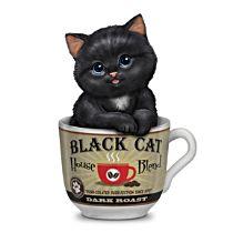 """Kayomi Harai """"Dark Roast"""" Kitten In A Coffee Cup Figurine"""