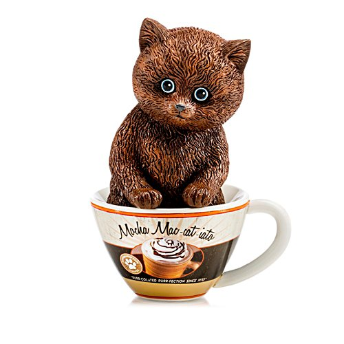 """Mocha Mac-cat-iato"" Kitten In A Coffee Cup Figurine"