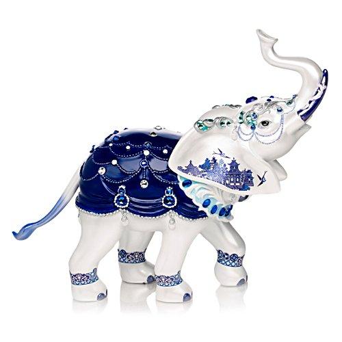 Blue Willow Elephant Figurine With Swarovski Crystals