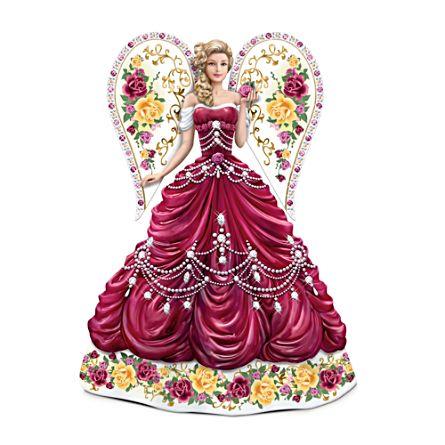 Sparkling Country Rose Angel Figurine With Swarovski Crystal