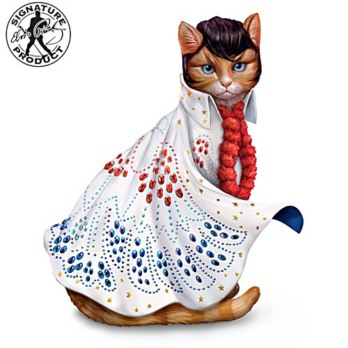 """Heartbreak Furr-tel"" Elvis Presley-Inspired Cat Figurine"