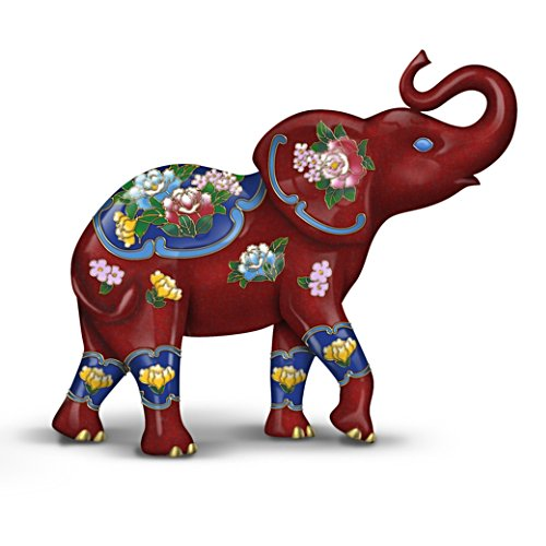 Cloisonne Elephant Figurine With Cloisonne-Inspired Designs