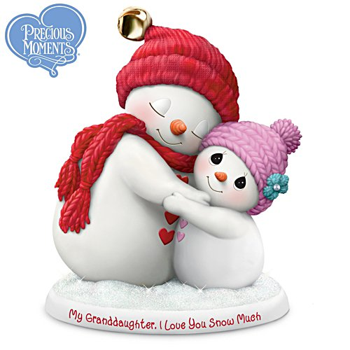 Precious Moments Grandmother Granddaughter Snowman Figurine