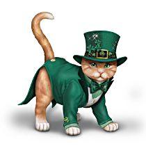 "Blake Jensen ""Feline Lucky"" Irish-Themed Cat Figurine"