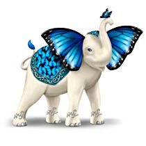"""""""Blue Majesty"""" Hand-Painted Elephant Figurine"""