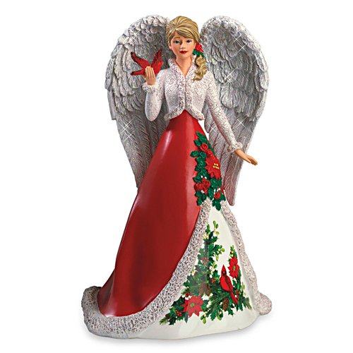 """Decadent Holly"" Angel Figurine With Sculpted Cardinal"