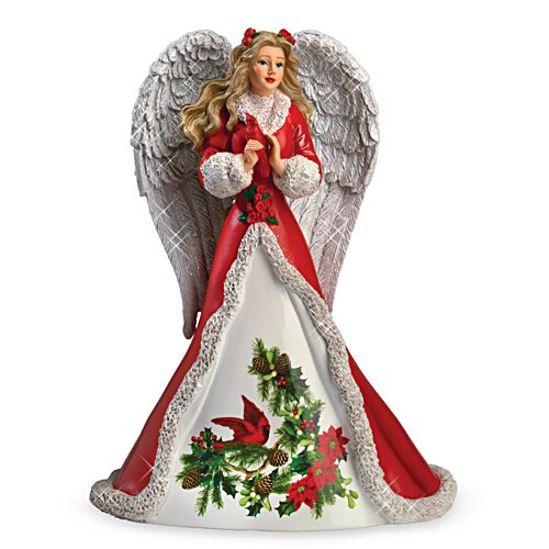 """Peaceful Prayer"" Angel Figurine With Sculpted Cardinal"