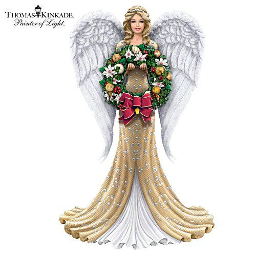 Thomas Kinkade Angel With Four Swap-Out Seasonal Wreaths