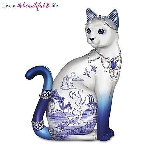 Blue Willow Porcelain Cat Figurine