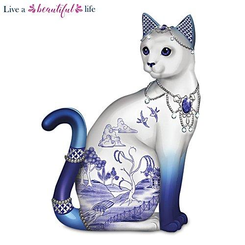 Blue Willow Porcelain Cat Figurine