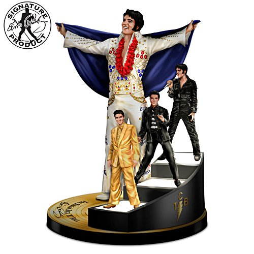Elvis Sculpture With Lighted Staircase
