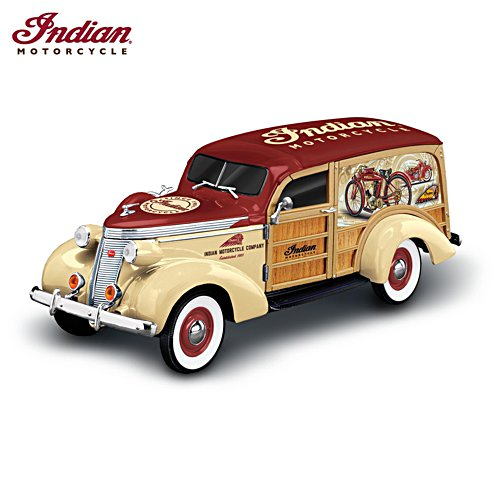 'Fueled With American Pride' 1:18-scale Indian Motorcycle Woody Wagon Sculpture