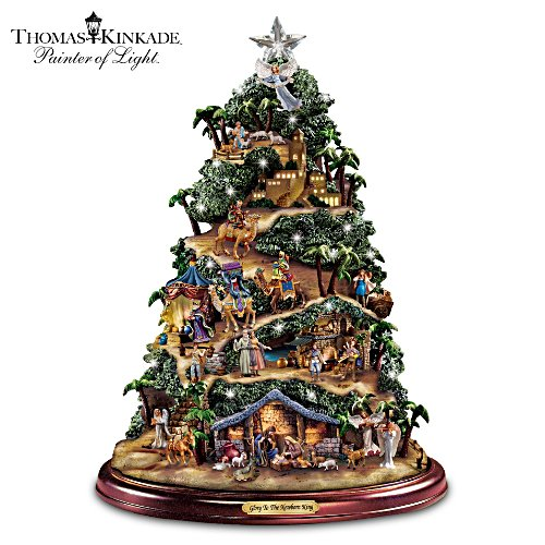 Thomas Kinkade Illuminated Musical Tabletop Nativity Tree