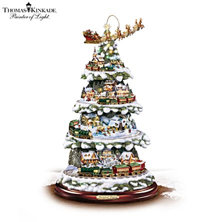 thomas kinkade wonderland express tabletop christmas tree with lights moving train music