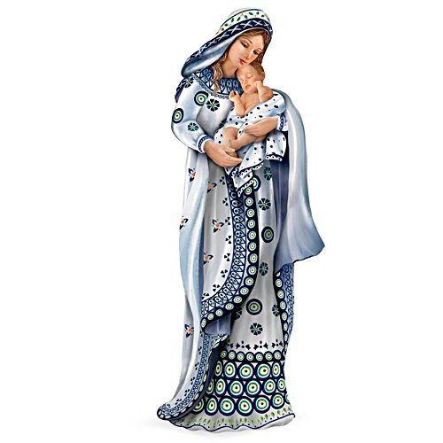 Mary and Baby Jesus Polish Stoneware-Style Figurine