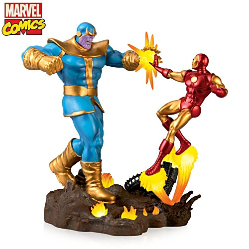 MARVEL Avengers Iron Man Vs. Thanos Illuminated Sculpture