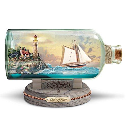 Thomas Kinkade Illuminated Ship-In-A-Bottle Sculpture