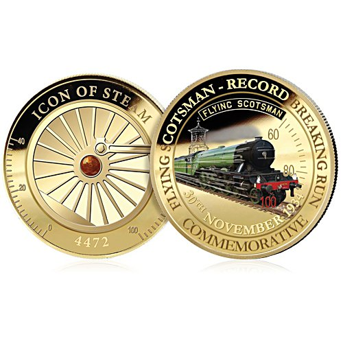 Record Breaking Run Flying Scotsman Official Golden Commemorative