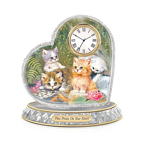 'Paw Prints On Your Heart' Glass Art Clock