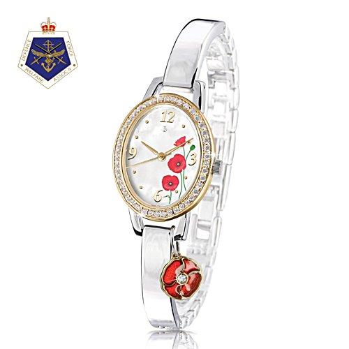 'Lest We Forget' Diamond Poppy Charm Watch