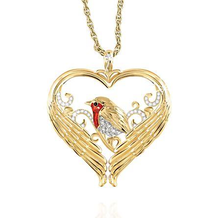 'Messenger Of Love' Robin Diamond Pendant