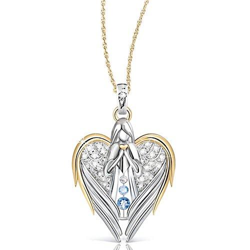 'Guardian Angel Of Love' Diamond And Topaz Pendant