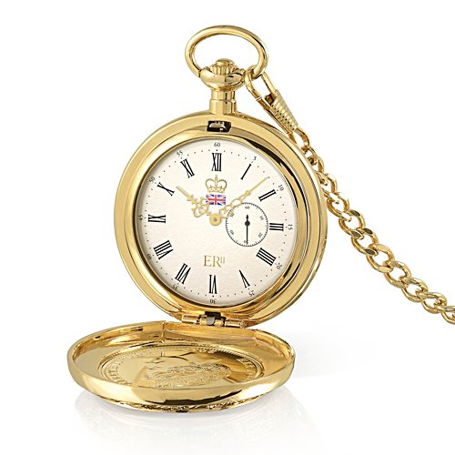 Queen Elizabeth II Four Profiles Gold-Plated Coin Pocket Watch