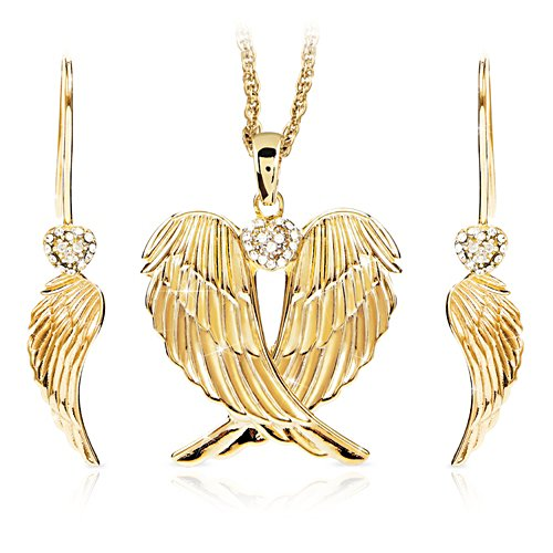 'Always In My Heart' Guardian Angel Wings Pendant and Earrings Set
