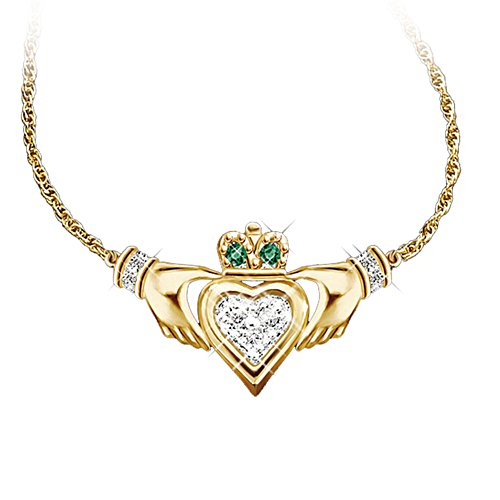 'Claddagh' Diamond And Emerald Necklace