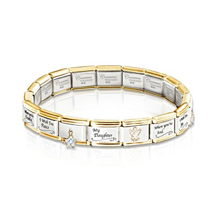 'My Daughter, I Wish You' Italian Charm Bracelet