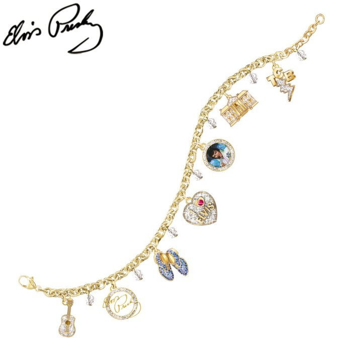 Elvis Showstopper Swarovski Crystal Charm Bracelet