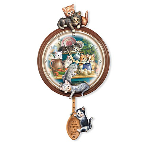 Jürgen Scholz 'Kitchen Capers' Cat Art Wall Clock