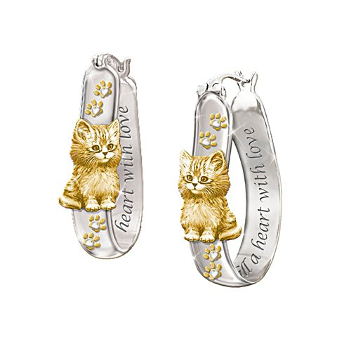 Goldige Pfötchen – Sterling-Silber-Ohrringe
