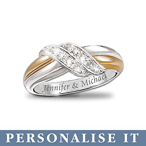 'Diamond Embrace' Personalised 2-Band Ring