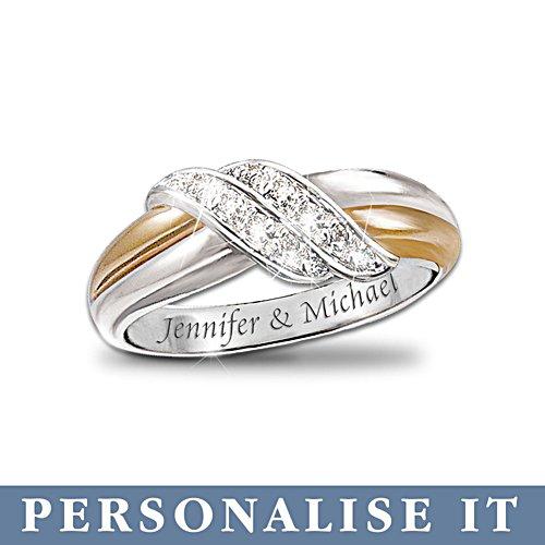 'Diamond Embrace' Personalised 2-Band Ring