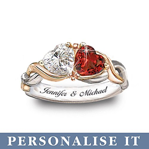 'Two Hearts, One Love' Personalised Ring